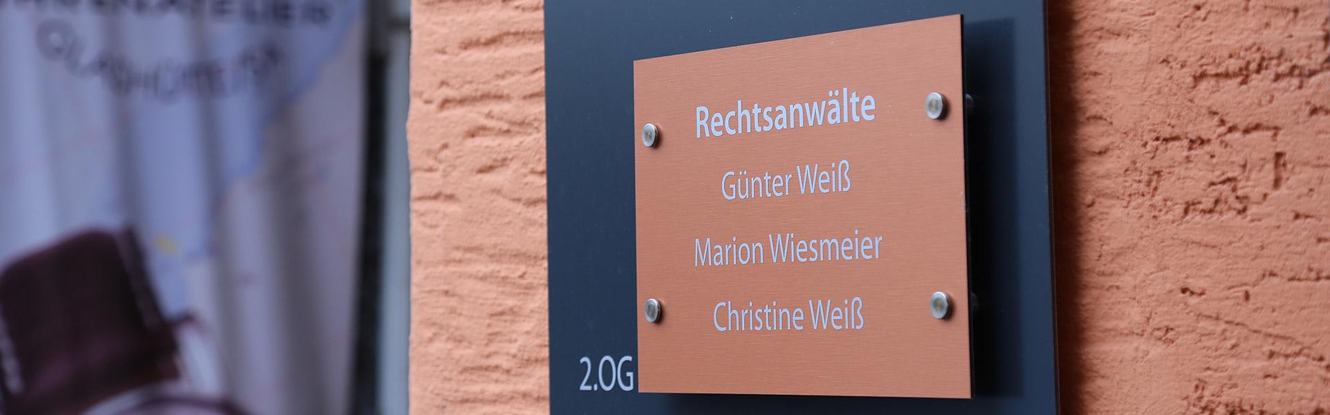 Eingangsbereich der Rechtsanwaltskanzlei in Pfarrkirchen